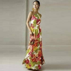 Anthro LIL Manambe floral halter silk maxi dress